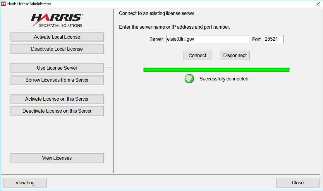 A screenshot of the Harris License Administrator showing a proper license server connection configuration.