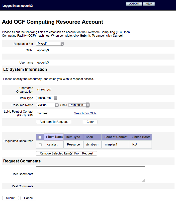 Screenshot of the form used to Add OCF Computing Resource Account
