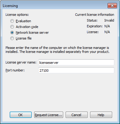 Example of Network License Setup Window
