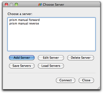 The choose server dialog box
