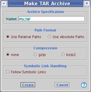 TAR dialog