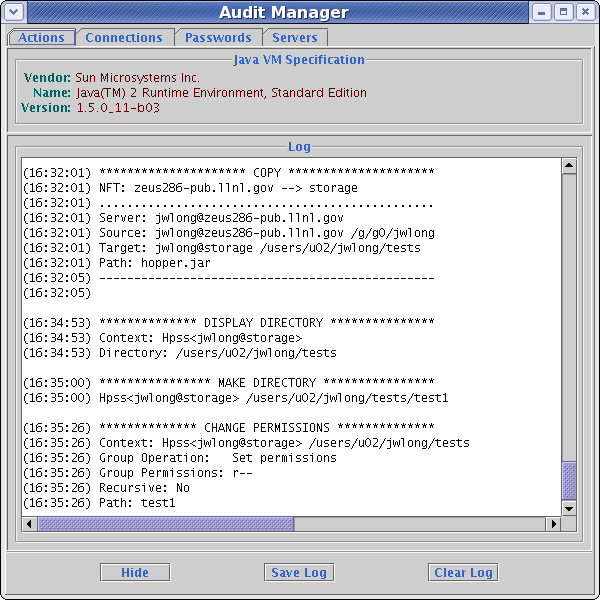 Audit manager window
