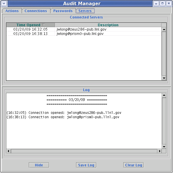 Audit manager servers tab
