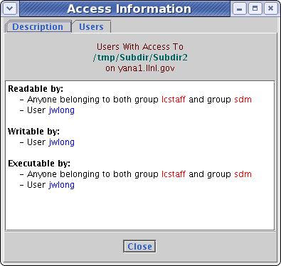 Example of initial view of the dialog for checking who has access to a file or directory