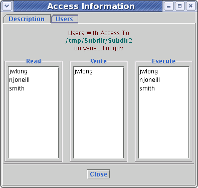 Example of the Users tab in the dialog for access information