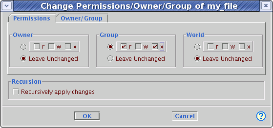 Screenshot of the control panel in the Change Permissions dialog