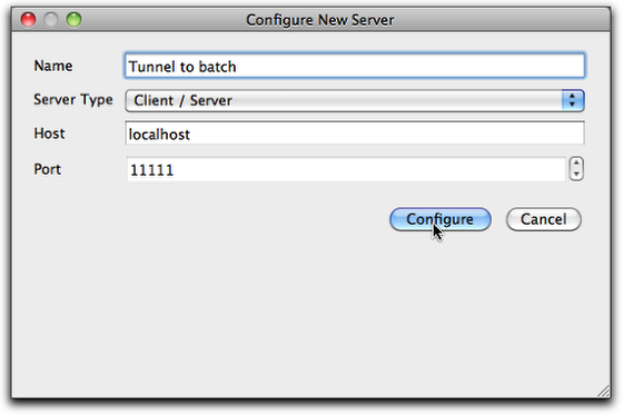 The Configure New Server dialog box