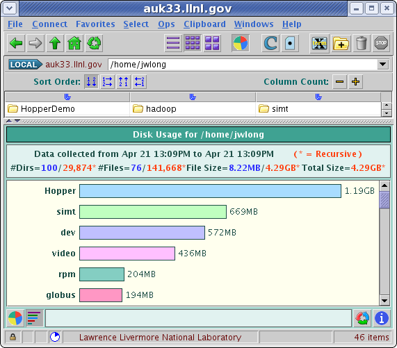 Example of the graphical representation of disk usage displayed after a scan is complete