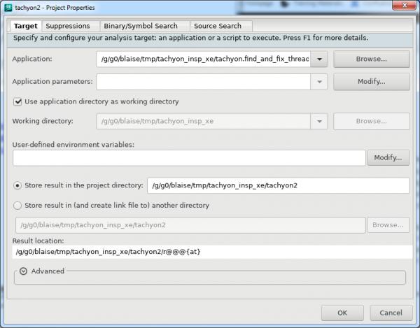 Intel Inspector Create Project