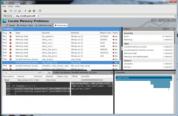 Intel Inspector with MPI