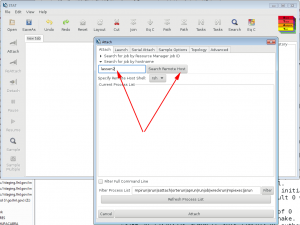 Example of STAT 'Attach' window with 'Search Remote Host' click option