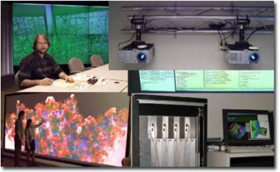 collage of different power wall theaters at the lab