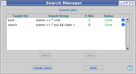Search manager window