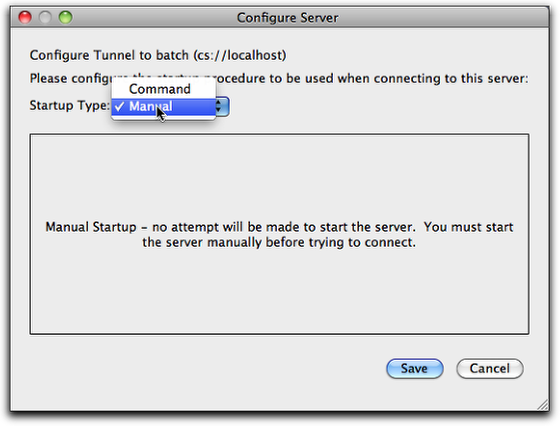 The Configure Server dialog box
