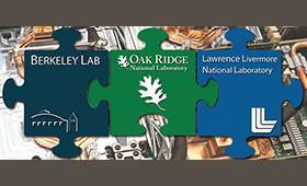 3 lab's logos on puzzle piece: Berkeley, Oak Ridge, Livermore
