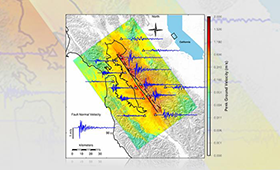 Simulated strength of shaking from a magnitude 7.0 Hayward Fault earthquake showing peak ground velocity (colorbar) and seismograms (blue) at selected locations (triangles).