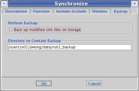 Synchronize backup tab