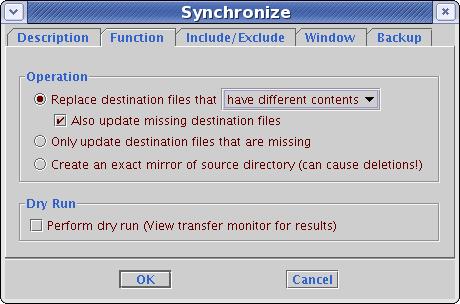 Synchronize function tab