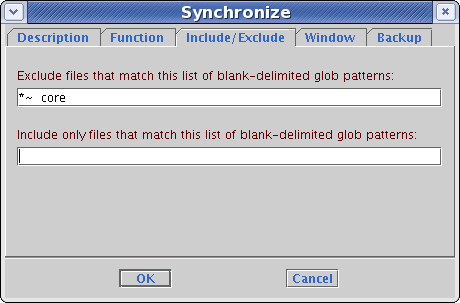 Synchronize include/exclude tab