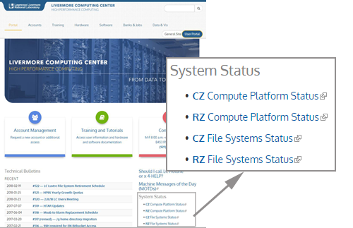 System status menu on HPC site
